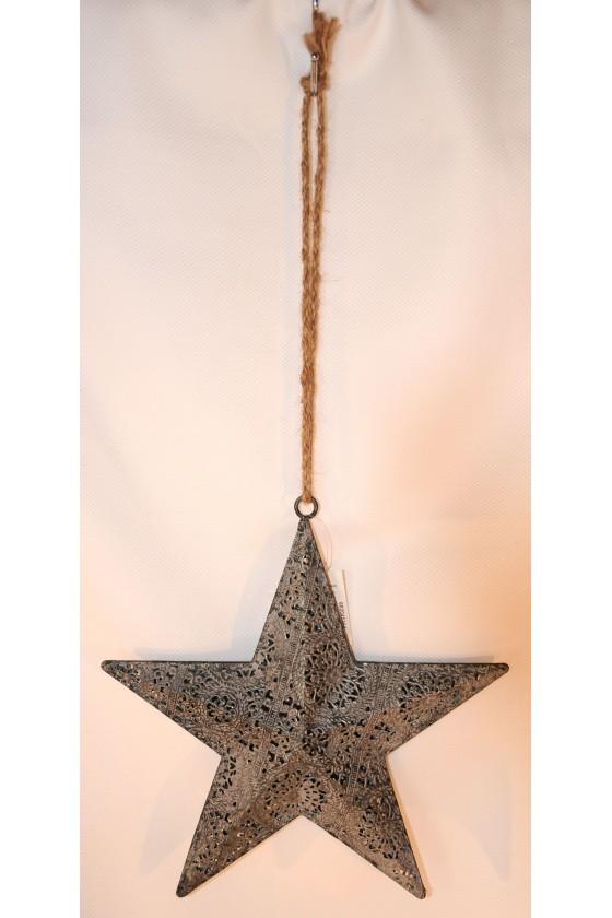 Stern, Metallstern, hängend, silber/zinkfarbig, Juteband