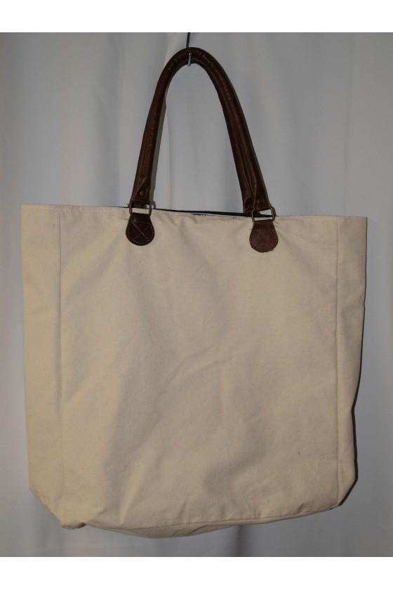 Tasche, Shopper, Hirschmotiv vorn, Rückseite uni creme