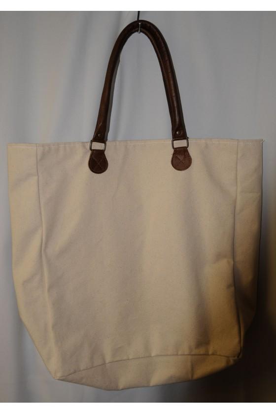 Tasche, Shopper, Kuh-Motiv vorn, Rückseite uni creme