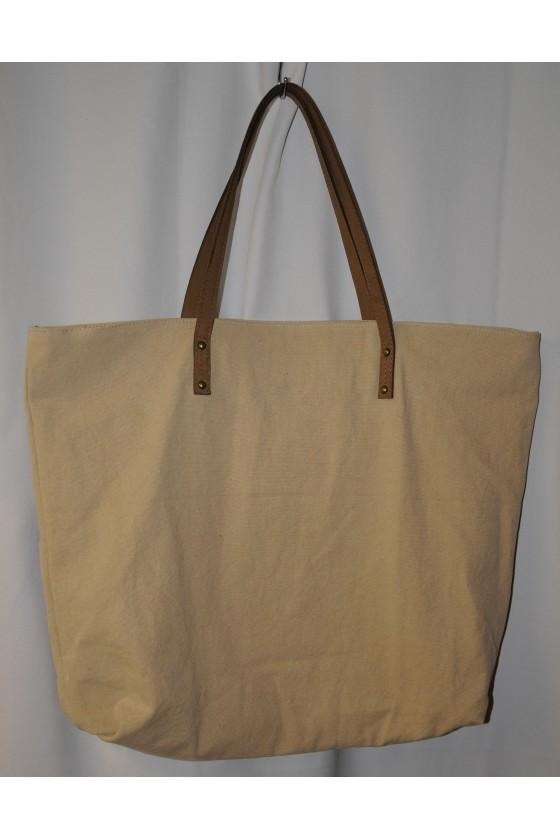 Tasche, Shopper, Hirsch-Motiv vorne, Rückseite uni beige