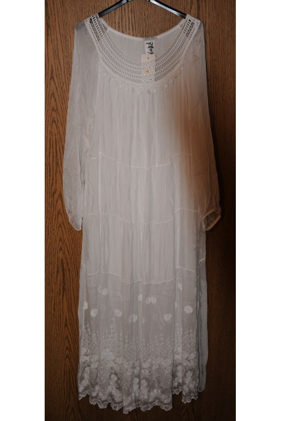 Kleid, lang, weiß, uni,...