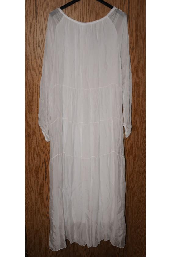 Kleid, lang, weiß, uni, vorne bestickt, One Size
