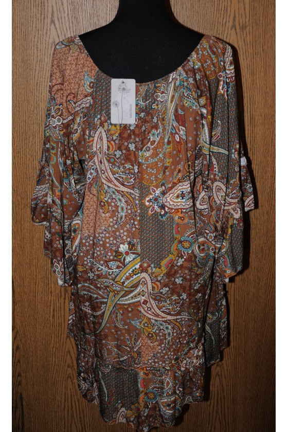 Longbluse, Kleid, camel/beige/grün gemustert, bequemer Schnitt