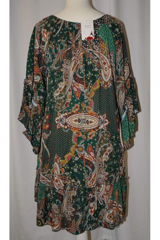Longbluse, Kleid, grün/rost/beige gemustert