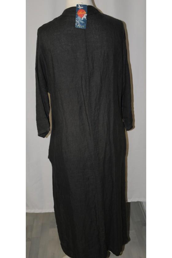 Kleid, lang, anthrazit, reines Leinen