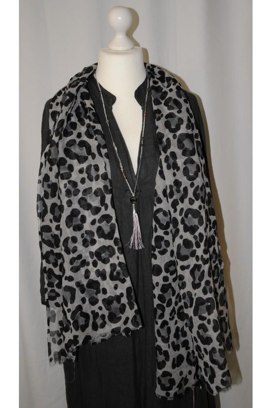 Tuch, Animalprint, grau/schwarz, 100% Wolle