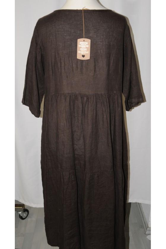 Kleid, lang, dunkelbraun, bequemer Schnitt, reines Leinen