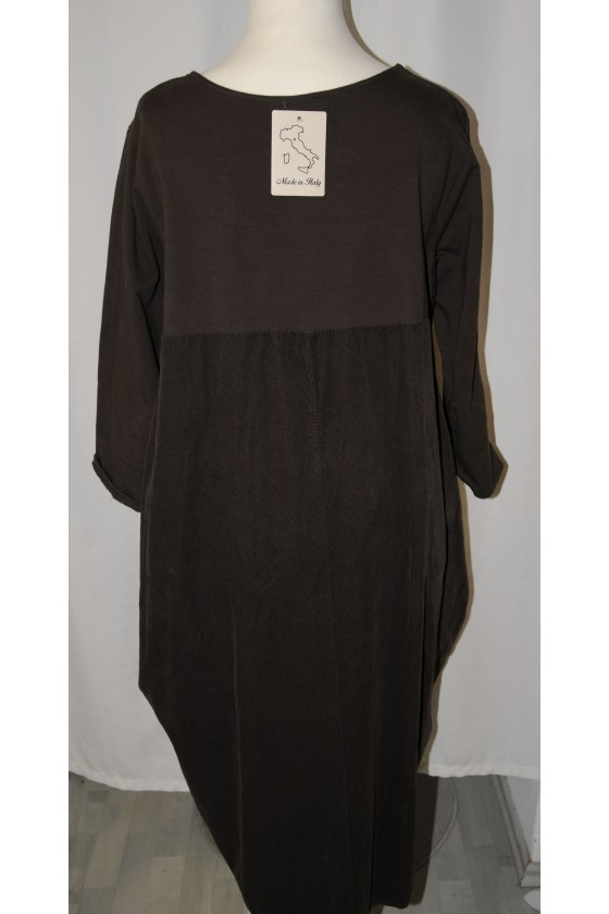 Kleid, lang, dunkelbraun uni, bequemer Schnitt, 95% Baumwolle/ 5% Elastan