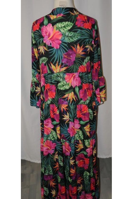 Kleid, lang, grün/pink/rot, Blumen-/Palmenmuster, langarm