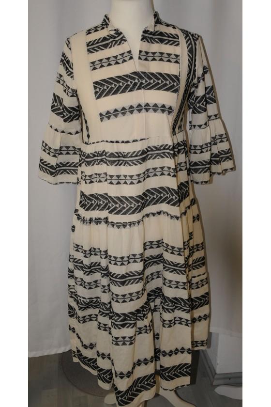 Kleid, lang, schwarz/weiß...