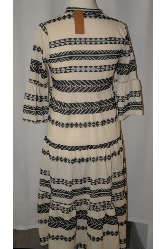 Kleid, lang, schwarz/weiß Ethnomuster