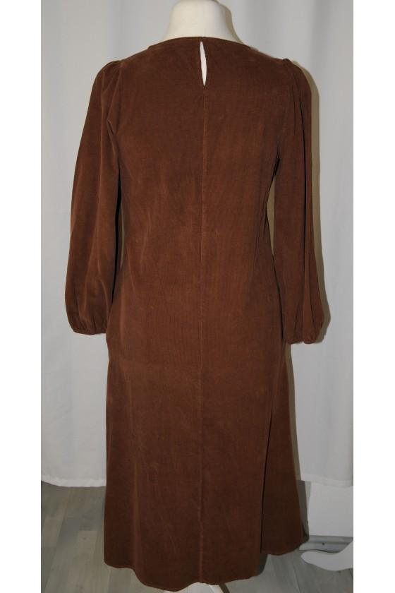 Kleid, lang, braun, Babycord, langarm