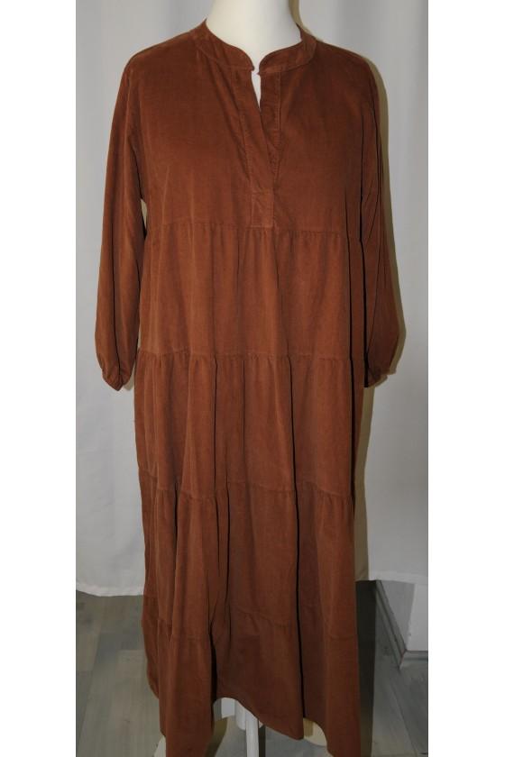 Kleid, lang, caramelbraun,...