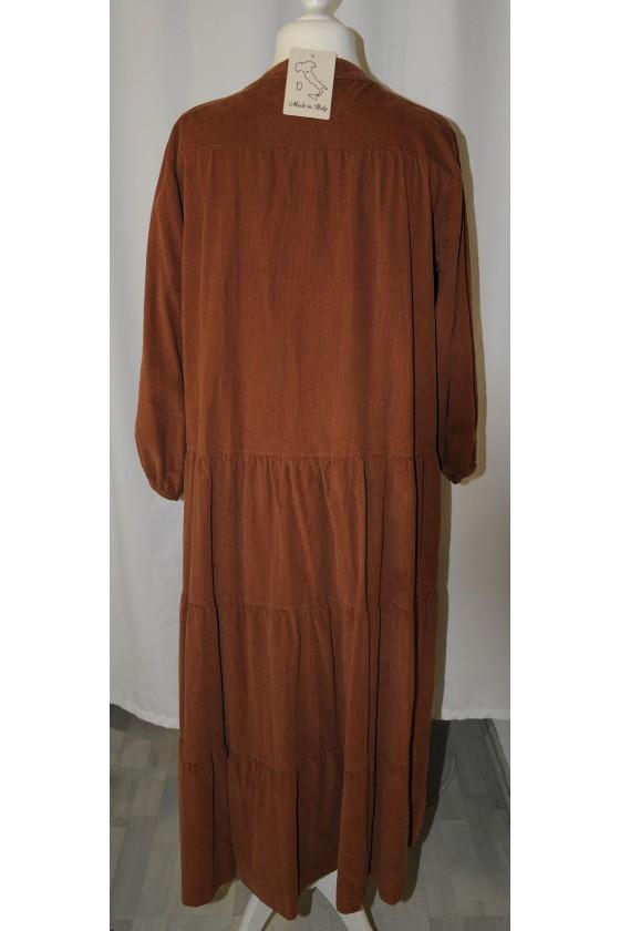 Kleid, lang, caramelbraun, Babycord, langarm