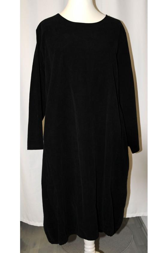 Kleid, lang, schwarz, Babycord, langarm