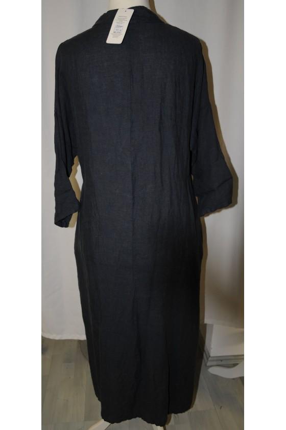 Kleid, lang, dunkelblau, reines Leinen, bequemer Schnitt