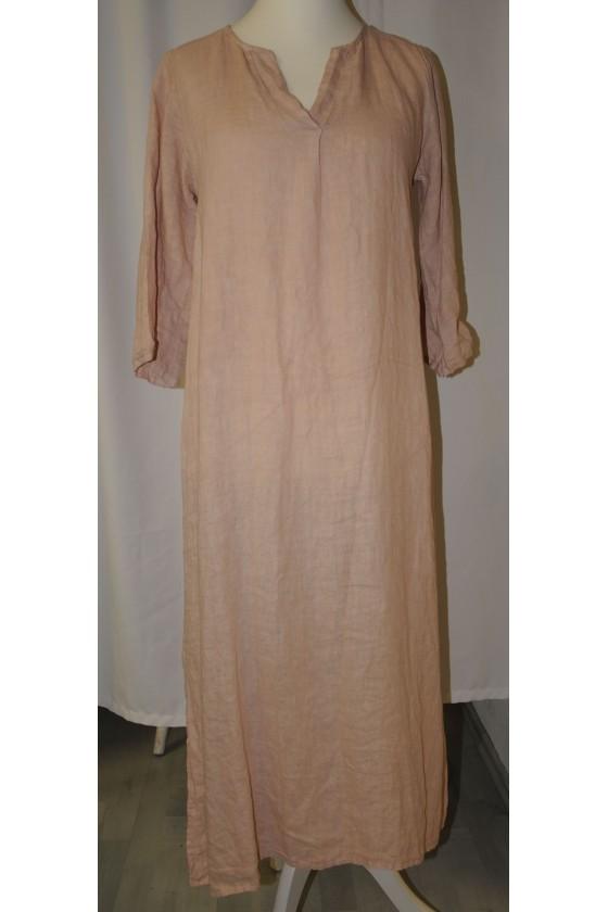 Kleid, lang, puderfarbig,...