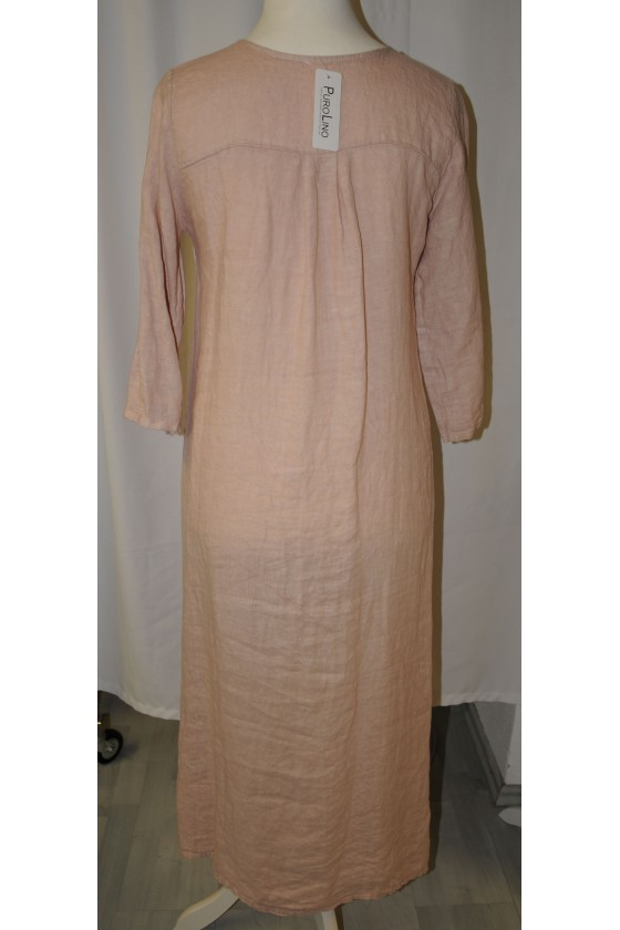 Kleid, lang, puderfarbig, reines Leinen, bequemer Schnitt