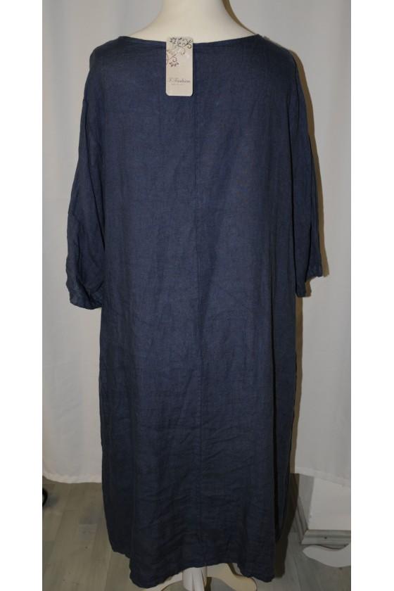 Kleid, lang, dunkelblau, reines Leinen
