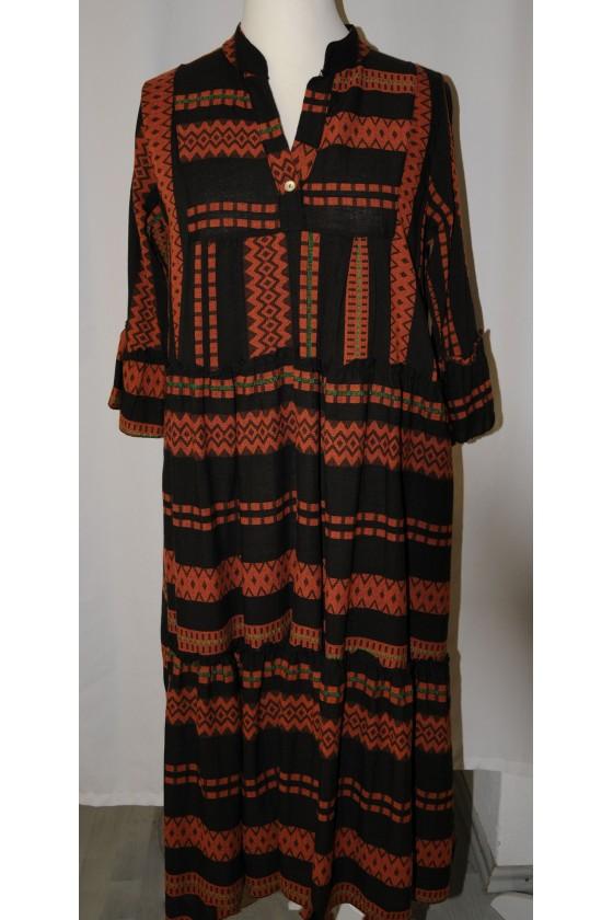 Kleid, lang, schwarz/rost...