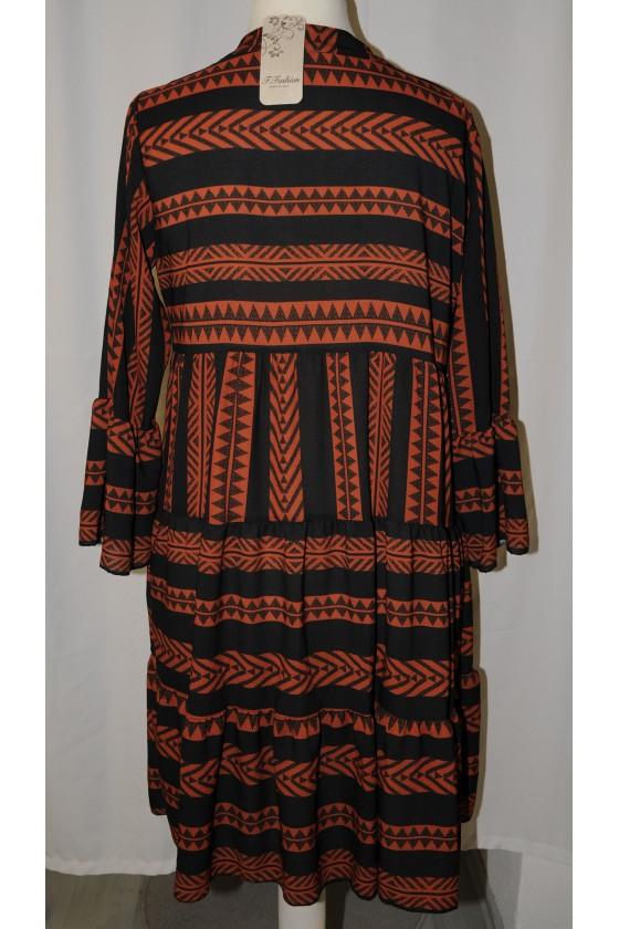Kleid, Kurzkleid, schwarz/rost Ethnomuster