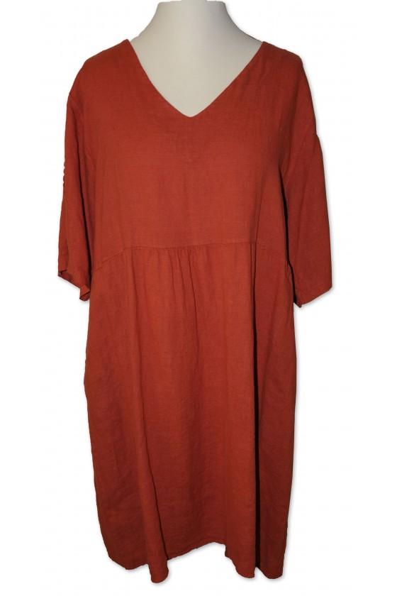 Kleid, rost, reines Leinen,...