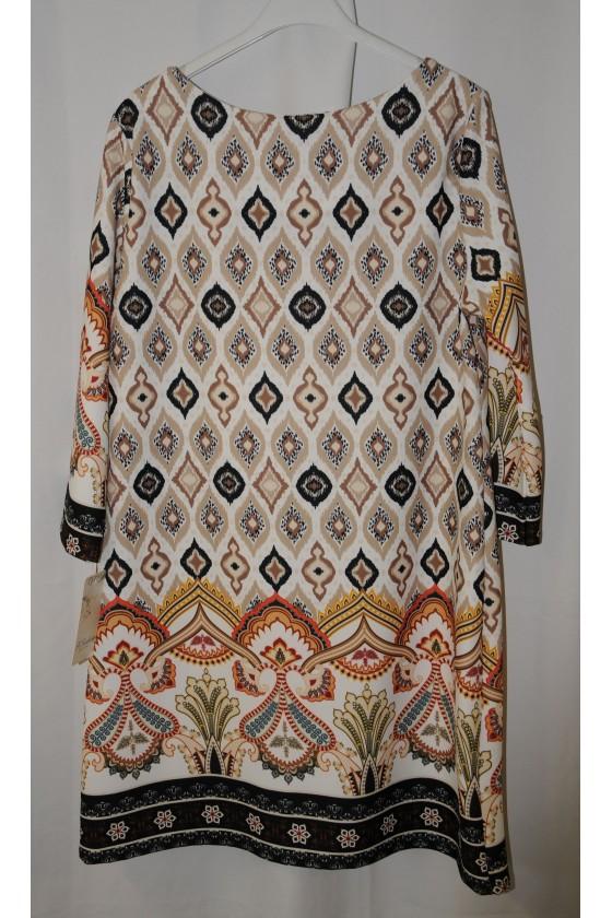 Kleid, Kurzkleid, Stiefelkleid, braun/blau/beige gemustert, Kunstleder cognac abgesetzt