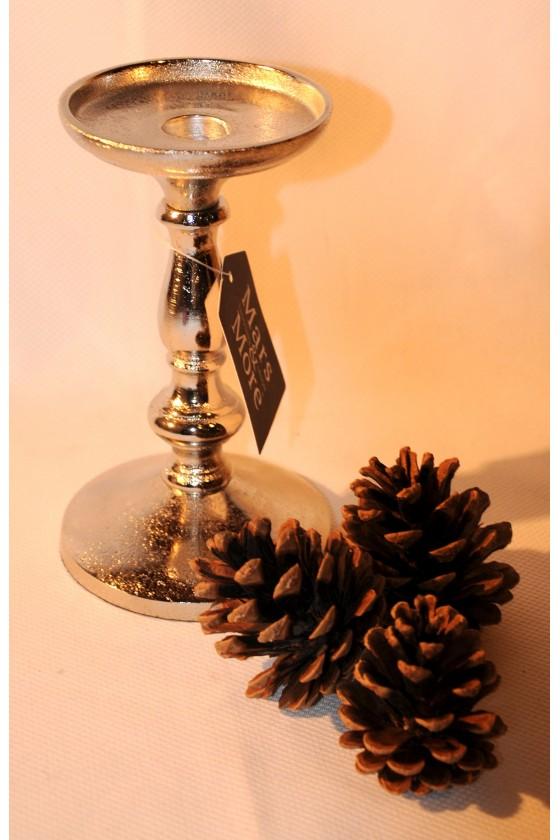 Kerzenleuchter, Kerzenständer, Aluguss, für Stab- oder Stumpenkerze, Höhe 18 cm