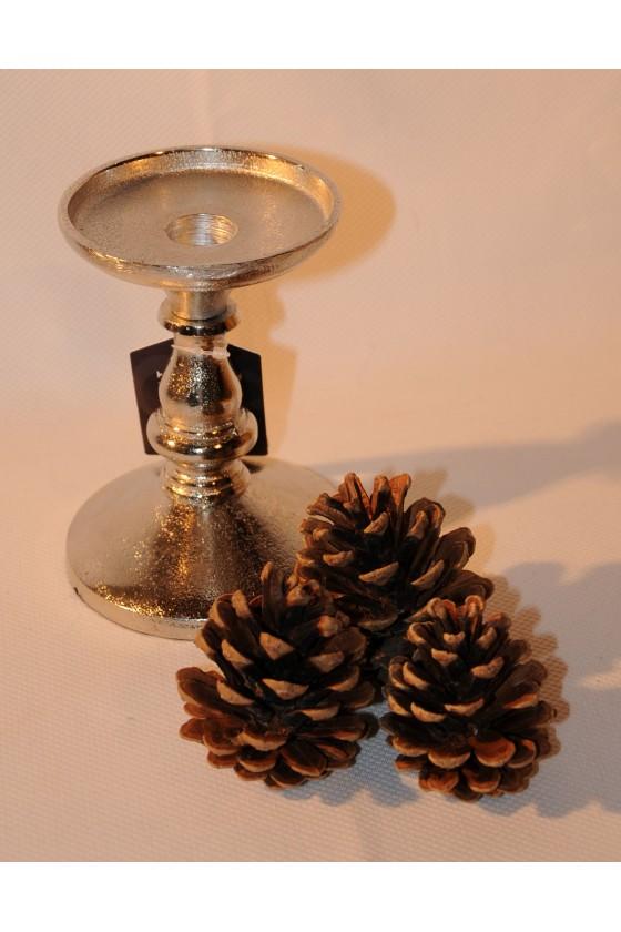 Kerzenleuchter, Kerzenständer, Aluguss, für Stab- oder Stumpenkerze, Höhe 14 cm