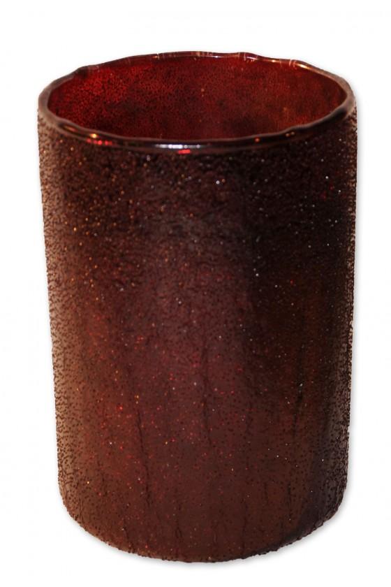 Windlicht, Vase, rot, Glas, außen gesprenkelt