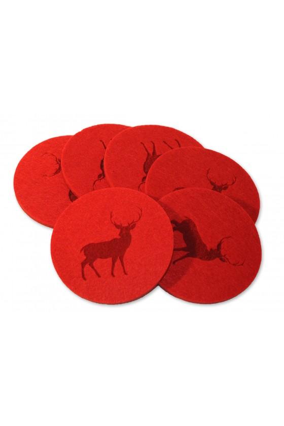Untersetzer, Set, 6-teilig, rot, rund mit Hirschprägung
