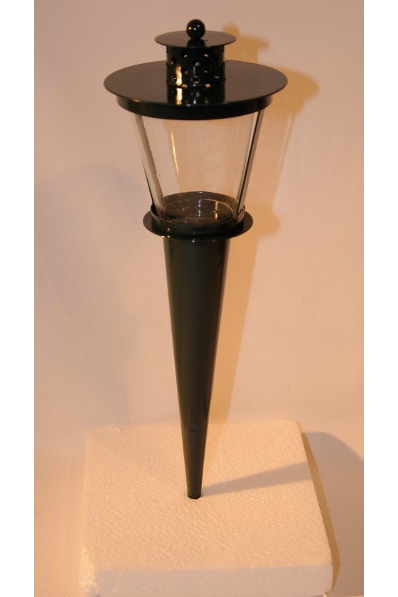 Stecklaterne, Metall dunkelgrün lackiert, Glaseinsatz