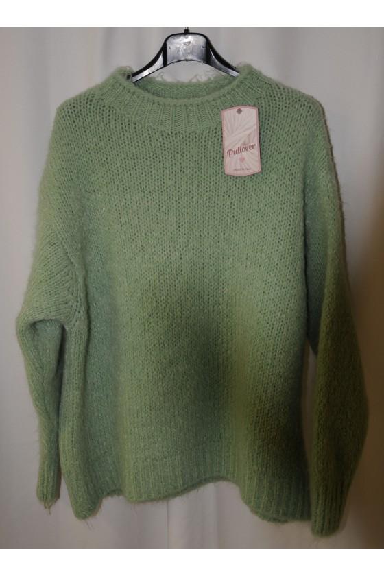 Pulli, Grobstrick, mintgrün, uni, One Size, warm, kurz, Rundhals