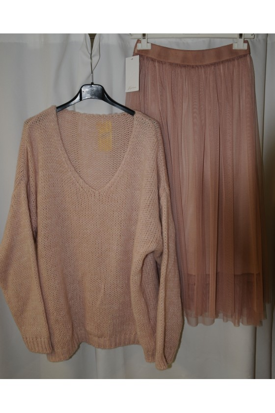 Pulli, Grobstrickpullover, rosa, uni, weit, One Size