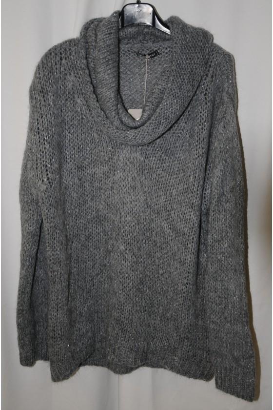 Pulli, Grobstrick, Wasserfallrollkragen, grau/Lurexfäden silber, One Size