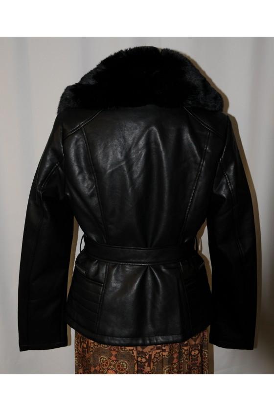 Jacke, Kunstleder/ Kunstfellkragen, schwarz, elegant