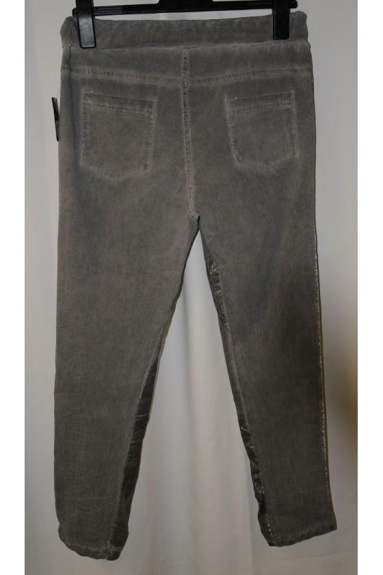 Hose, grau/silber, mit Schlank-Effekt, Stretch,  One Size, Gr. 38 - 44