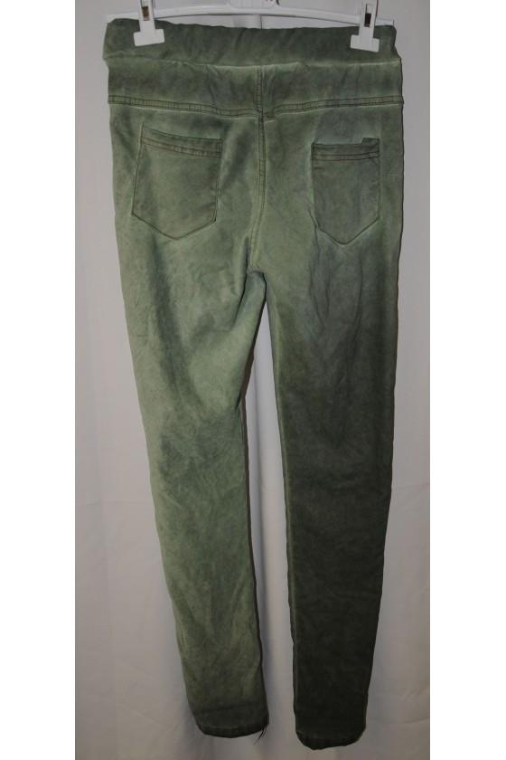 Hose, salbeigrün, uni, mit Schlank-Effekt, One Size, Gr. 38 - 44, Stretch