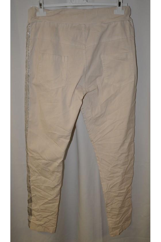 Hose, creme, uni, mit Schlank-Effekt, One Size, Gr. 38 - 44, Stretch, Silberstreifen beidseitig