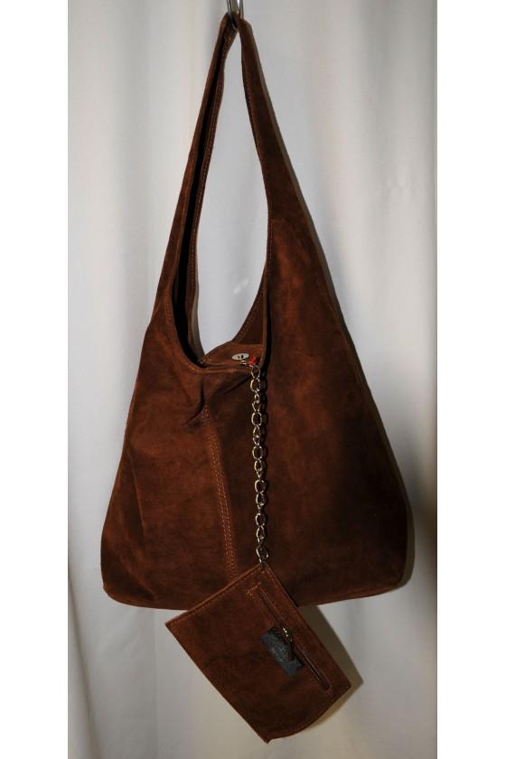 Tasche, Beuteltasche, echt Leder, Wildleder, dunkelbraun
