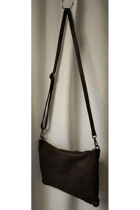 Umhängetasche, Tasche, echt Leder, dunkelbraun, geflochten