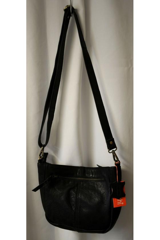 Umhängetasche, Tasche, schwarz, echt Leder, Vorderseite geflochten