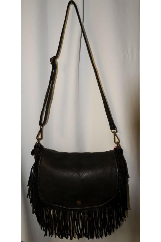 Umhängetasche, Tasche, Saddle-Bag, Fransentasche, echt Leder, dunkelbraun