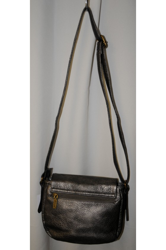 Umhängetasche, Tasche, Saddle-Bag, Kunstleder, silbermetallic