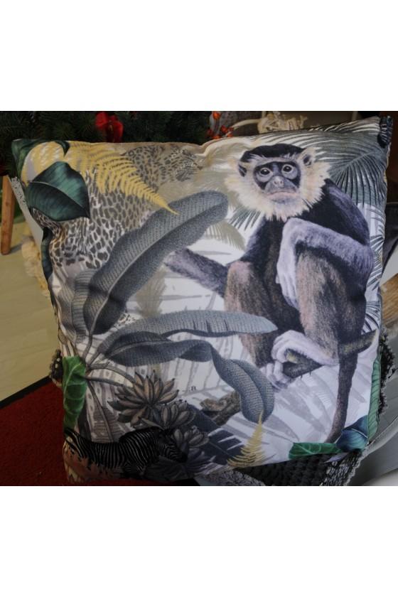 Kissen, tropical, Affe, Palmenblätter