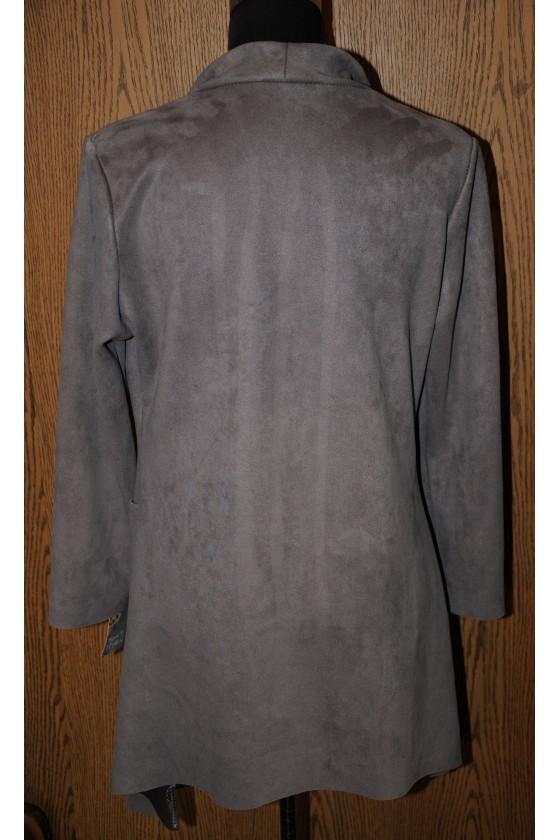 Jacke, Mantel, grau, Kunstleder, Wasserfallkragen