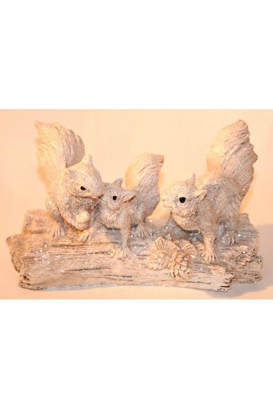 Eichhörnchen auf Stamm, weiß, Glitzer