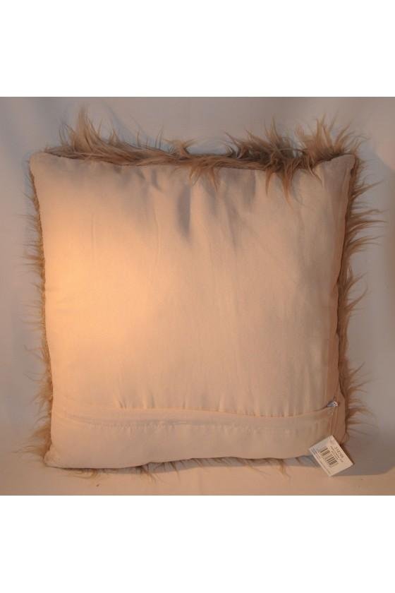 Kissen, Kunstfell, taupe, Langhaar, Rückseite Textil