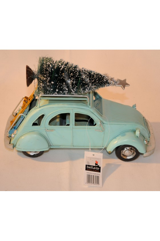 Auto, Weihnachtsauto, Ente mit Baum und Ski, Metall, türkis