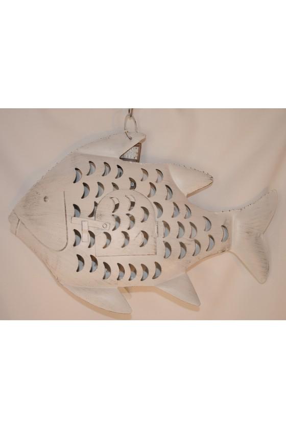 Windlicht, Fisch, Metall, weiß